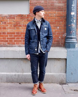 Как и с чем носить: темно-синяя джинсовая куртка-рубашка, темно-синяя джинсовая куртка, бежевая рубашка с длинным рукавом, серая рубашка с длинным рукавом