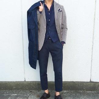 Как и с чем носить: темно-синяя джинсовая куртка-рубашка, бело-темно-синий пиджак в вертикальную полоску, темно-синий жилет, темно-синяя рубашка с длинным рукавом