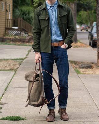 С чем носить голубую рубашку с длинным рукавом из шамбре мужчине: Голубая рубашка с длинным рукавом из шамбре и темно-синие джинсы — неотъемлемые вещи в гардеробе молодых людей с хорошим вкусом в одежде. Не прочь сделать лук немного строже? Тогда в качестве обуви к этому ансамблю, обрати внимание на темно-коричневые кожаные повседневные ботинки.