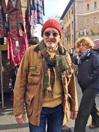 Светло-коричневая куртка с воротником и на пуговицах: с чем носить и как сочетать: Светло-коричневая куртка с воротником и на пуговицах и синие джинсы — великолепный ансамбль для похода в кино или марафона по городским барам.