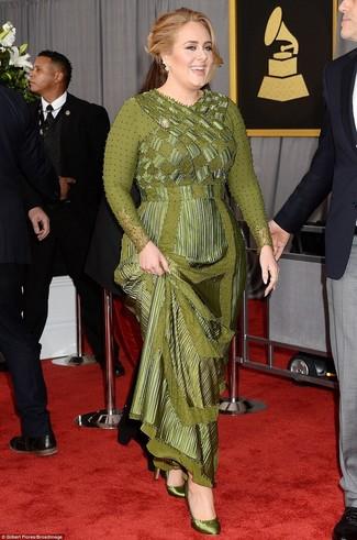 оливковое вечернее платье оливковые сатиновые туфли large 24363