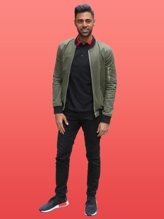 оливковый бомбер черная футболка поло черные джинсы large 26292