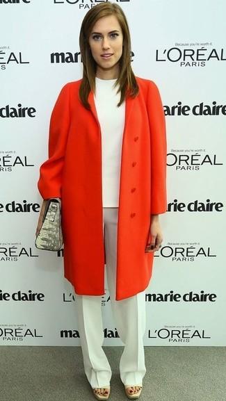 оранжевое пальто белый блуза с коротким рукавом белые классические брюки серая сумочка large 959