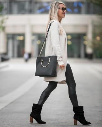 Черные кожаные леггинсы от Stouls