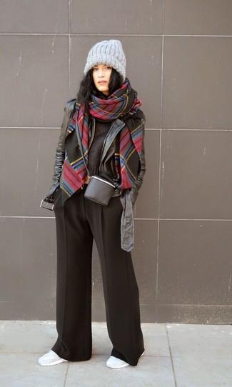 Черные широкие брюки от Giacobino