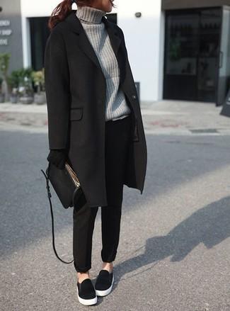 Модные черные пальто изоражения