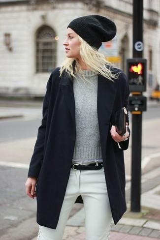 Женский серый свитер с круглым вырезом от Tommy Hilfiger Denim