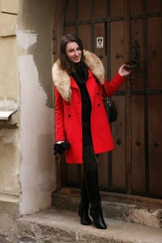 8849474302e ... Модный лук  красное пальто с меховым воротником