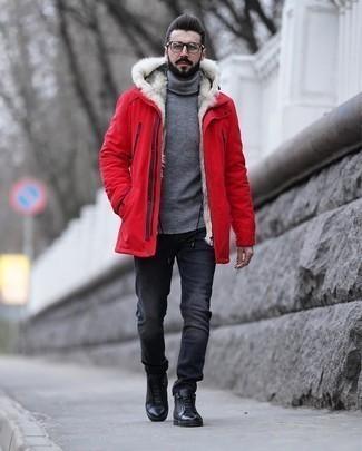 Мужская темно-красная парка от Revolution