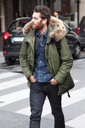 парка джинсовая куртка футболка с круглым вырезом джинсы шарф large 5141