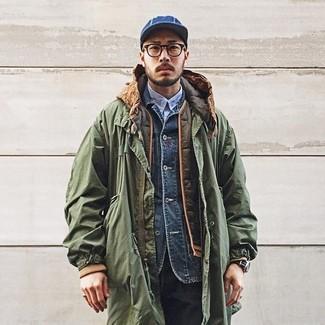 Как и с чем носить: оливковая парка, оливковая стеганая куртка без рукавов, темно-синяя джинсовая куртка, голубая рубашка с длинным рукавом