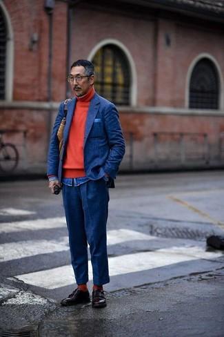 Как и с чем носить: темно-синий шерстяной пиджак, красная водолазка, синяя джинсовая рубашка, темно-синие шерстяные классические брюки