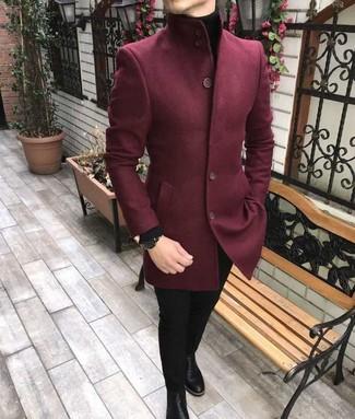 Как и с чем носить: темно-красный шерстяной пиджак, черная водолазка, черные зауженные джинсы, черные кожаные ботинки челси
