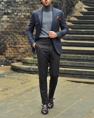 Мужской серый шерстяной пиджак в клетку от Prada