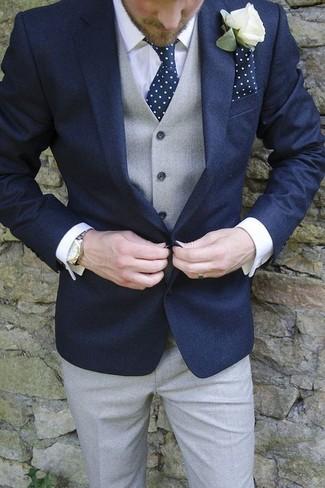 Как и с чем носить: темно-синий пиджак, серый жилет, белая классическая рубашка, серые классические брюки