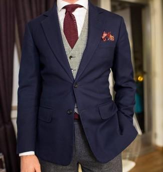 Как и с чем носить: темно-синий пиджак, серый жилет, белая классическая рубашка, серые шерстяные классические брюки
