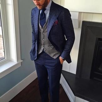 Как и с чем носить: темно-синий пиджак в клетку, серый жилет, голубая классическая рубашка, темно-синие шерстяные классические брюки
