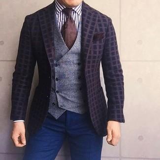 Как и с чем носить: темно-коричневый шерстяной пиджак в клетку, серый шерстяной жилет в шотландскую клетку, бело-черная классическая рубашка в вертикальную полоску, темно-синие классические брюки