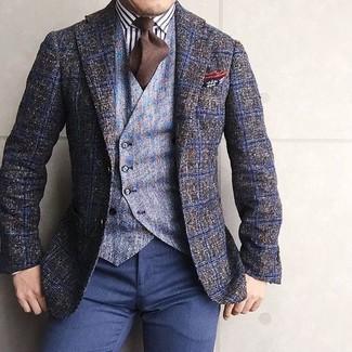 Как и с чем носить: оливковый шерстяной пиджак в клетку, голубой шерстяной жилет, бело-черная классическая рубашка в вертикальную полоску, темно-синие классические брюки