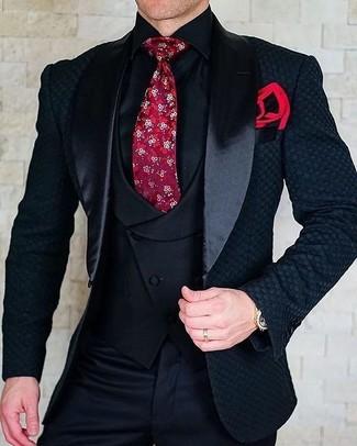 Как и с чем носить: черный сатиновый пиджак, черный жилет, черная классическая рубашка, черные классические брюки