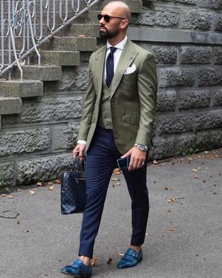 Как и с чем носить: оливковый пиджак, оливковый жилет, белая классическая рубашка, темно-синие классические брюки