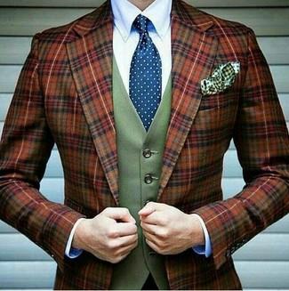 Как и с чем носить: табачный шерстяной пиджак в шотландскую клетку, оливковый шерстяной жилет, белая классическая рубашка, синий галстук в горошек