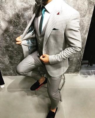 Как и с чем носить: серый пиджак в мелкую клетку, серый жилет, белая классическая рубашка, серые классические брюки