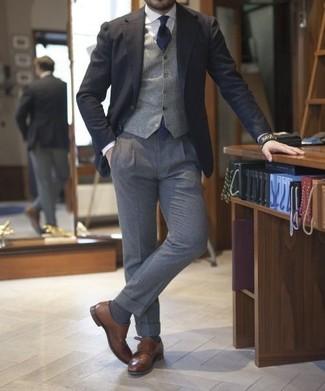 Мужские темно-серые шерстяные классические брюки от Kolor