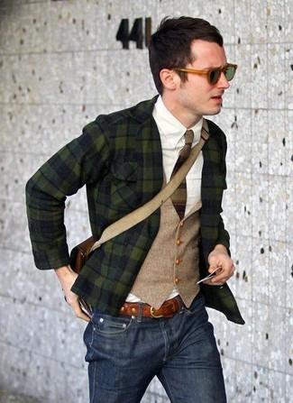 пиджак жилет рубашка с длинным рукавом джинсы сумка почтальона галстук ремень солнцезащитные очки large 7522
