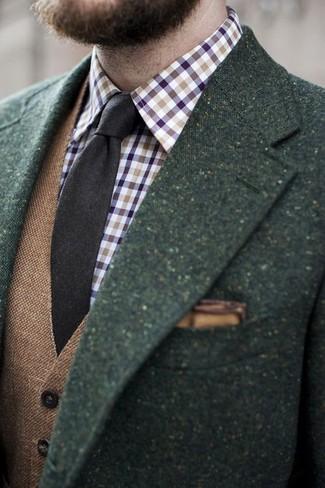 Как и с чем носить: темно-зеленый шерстяной пиджак, коричневый шерстяной жилет, фиолетовая рубашка с длинным рукавом в мелкую клетку, темно-коричневый шерстяной галстук
