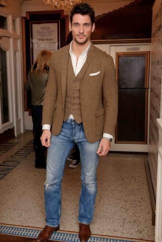 Мужские синие рваные джинсы от Diesel