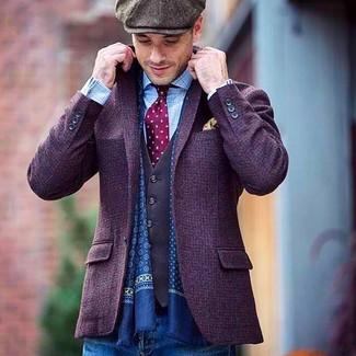 Темно-коричневая кепка: с чем носить и как сочетать мужчине: Если ты ценишь комфорт и практичность, фиолетовый шерстяной пиджак и темно-коричневая кепка — прекрасный выбор для стильного повседневного мужского лука.