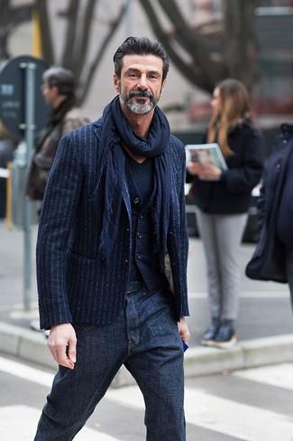 Мужской темно-синий шарф от Armani Jeans