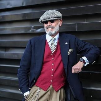 Как и с чем носить: темно-синий шерстяной пиджак, красный кардиган, белая классическая рубашка, светло-коричневые классические брюки