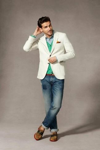 Как и с чем носить: белый пиджак, мятный кардиган, голубая рубашка с длинным рукавом, темно-синие рваные джинсы