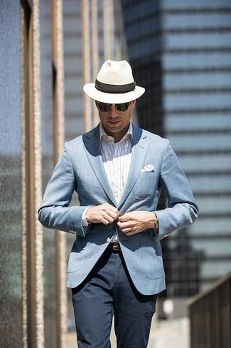 Как и с чем носить: голубой пиджак в шотландскую клетку, белая классическая рубашка в вертикальную полоску, темно-синие брюки чинос, белая соломенная шляпа