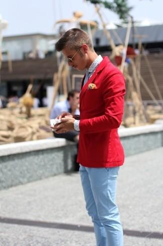 Как и с чем носить: красный пиджак, белая классическая рубашка в горошек, голубые брюки чинос, голубой галстук в горошек