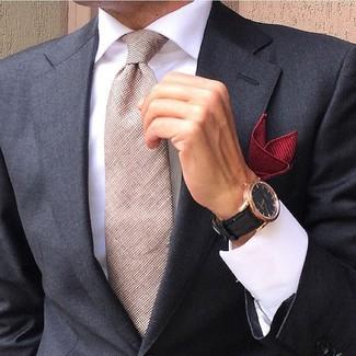 Как и с чем носить: черный пиджак, белая классическая рубашка, бежевый галстук, красный нагрудный платок
