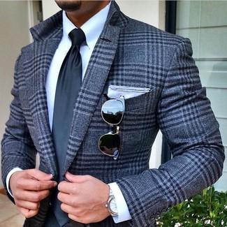 Как и с чем носить: серый шерстяной пиджак в шотландскую клетку, белая классическая рубашка, темно-серый галстук, белый нагрудный платок