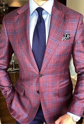 Как и с чем носить: красный пиджак в шотландскую клетку, белая классическая рубашка, темно-синяя классическая рубашка, темно-синий галстук