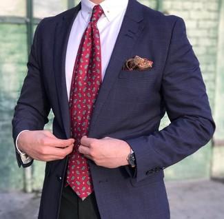 """Как и с чем носить: темно-синий пиджак в шотландскую клетку, белая классическая рубашка, черные классические брюки, красный галстук с """"огурцами"""""""