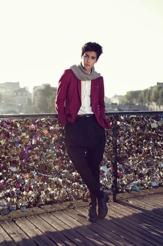 С чем носить серый шарф подросткам мужчине: Темно-красный пиджак и серый шарф помогут создать несложный и комфортный образ для выходного в парке или вечера в баре с друзьями. Любители модных экспериментов могут закончить лук черными кожаными туфлями дерби, тем самым добавив в него чуточку классики.