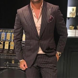 Коричневый пиджак в вертикальную полоску: с чем носить и как сочетать мужчине: Коричневый пиджак в вертикальную полоску и темно-коричневые классические брюки в вертикальную полоску — великолепный образ для мероприятия в фешенебельном заведении.
