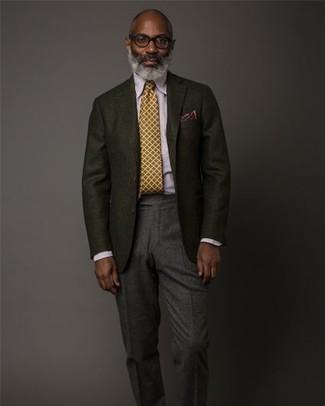 Как и с чем носить: черный шерстяной пиджак, светло-фиолетовая классическая рубашка, темно-серые шерстяные классические брюки, горчичный галстук