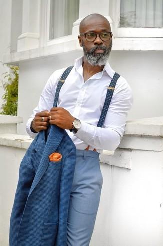 Как и с чем носить: синий пиджак в клетку, белая классическая рубашка, голубые классические брюки, оранжевый нагрудный платок в горошек