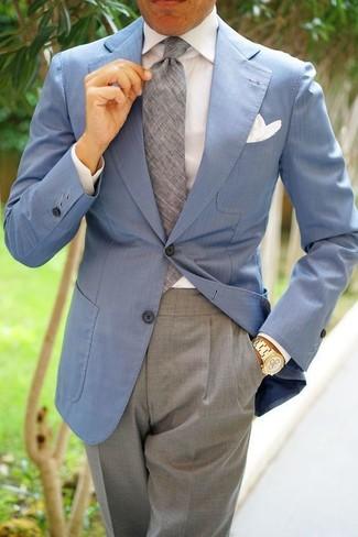 Как и с чем носить: голубой пиджак, белая классическая рубашка, серые классические брюки, серый галстук