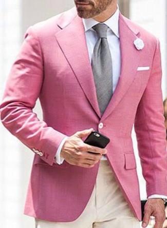 Как и с чем носить: розовый пиджак, белая классическая рубашка, бежевые классические брюки, серый галстук