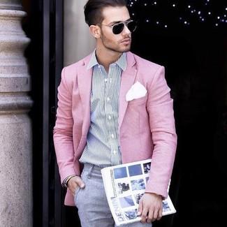 Как и с чем носить: розовый пиджак, бело-темно-синяя классическая рубашка в вертикальную полоску, серые классические брюки, белый нагрудный платок