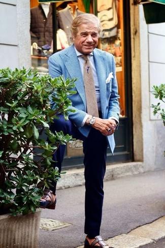Как и с чем носить: синий пиджак в мелкую клетку, голубая классическая рубашка, темно-синие классические брюки, коричневые кожаные лоферы с кисточками