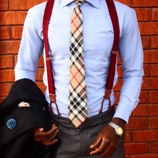 Как и с чем носить: черный пиджак, голубая классическая рубашка, темно-серые классические брюки, светло-коричневый галстук в шотландскую клетку